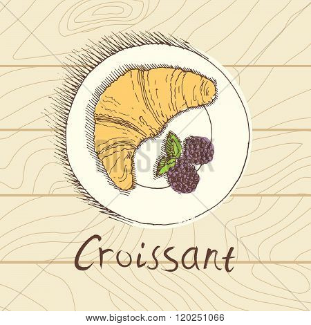 Croissant with fresh berries, breakfast, sketch style