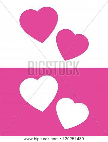 Cute vector illustration of a two hearts