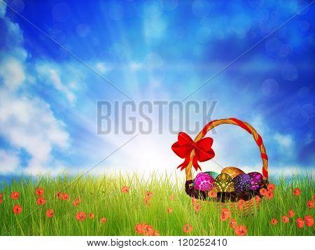 Easter Basket On Grass