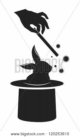 Vector Classic Silhouette of Magic Wand and Bunny Coming out of Top Hat