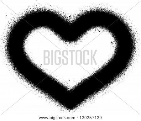 sprayed graffiti heart in black over white