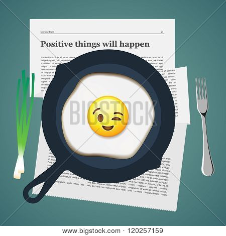 Positive breakfast with love, smiling fried egg