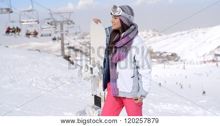 Young woman surveying the snow mountain slopes