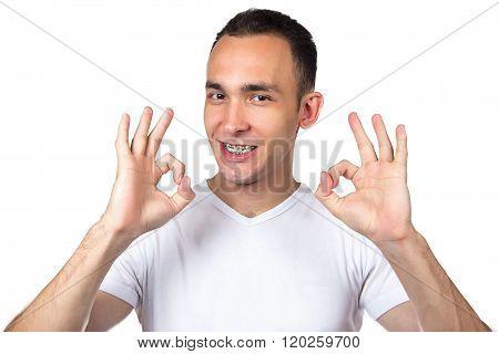 Brunette man with brackets