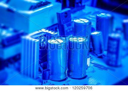 Capacitors Om A Microcircuit Board