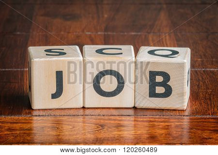 Cubes With The Word Job