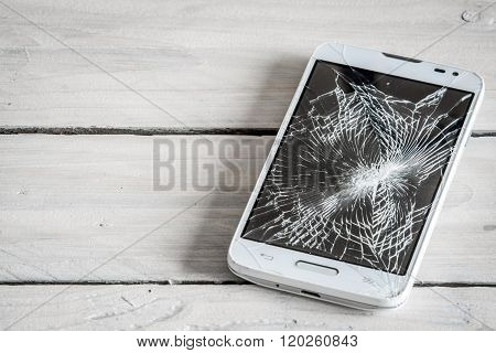 Smartphone Display With Broken Glass