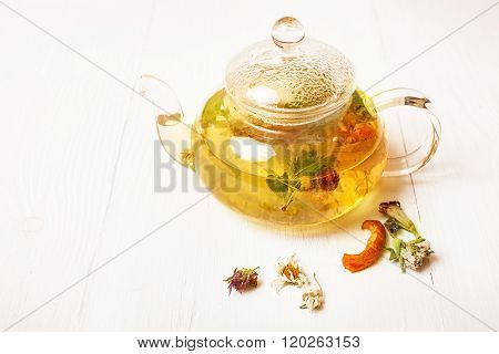 Glass Teapot With Herbal Tea