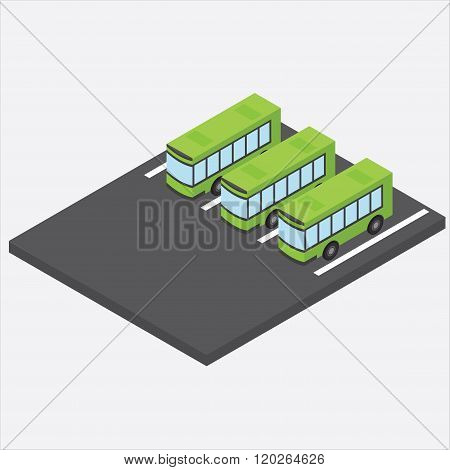 Isometric bus parking. Bus depot. Three green bus in the parking lot.