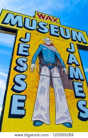 Stanton. U.S.A. - May 18. 2011: Missouri. Route 66, the Jesse James museum sign.