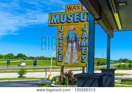 Stanton Missouri May 18. 2011:  Route 66. the Jesse James museum entrance.