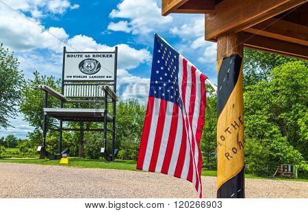 Fanning, U.S.A. - May 19 2011: Missouri, Route 66, the giant Rocking Chair of the Outpost restaurant and shop.