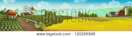 Farm, panorama landscape, vector background
