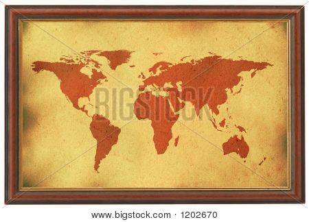 Old World Map In Wooden Frame