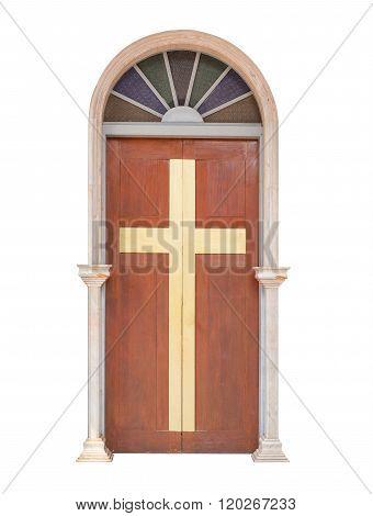 Wood Door With Cross