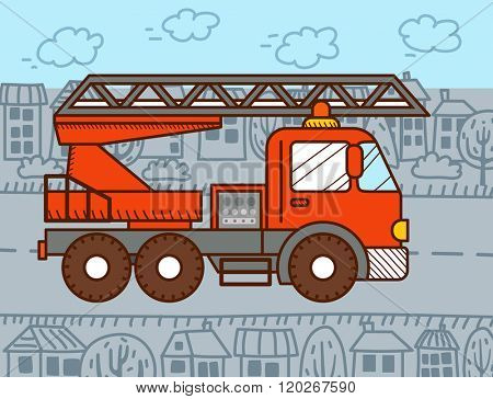 Cartoon fire truck. Vector illustration for kids and babies
