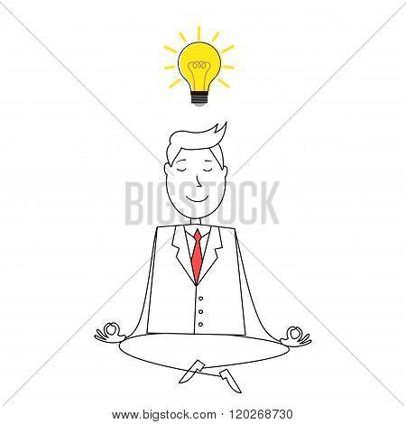 Cartoon happy man meditating