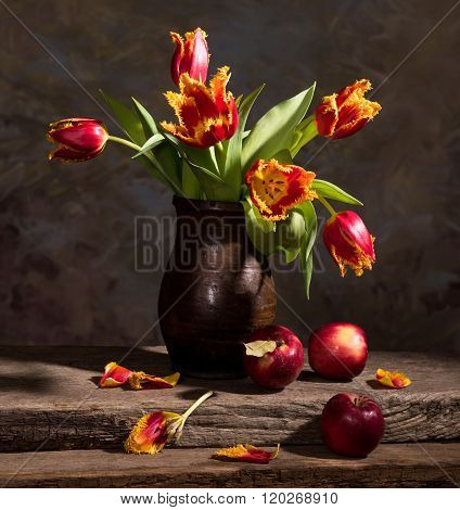 Beautiful Tulips And Red Apples