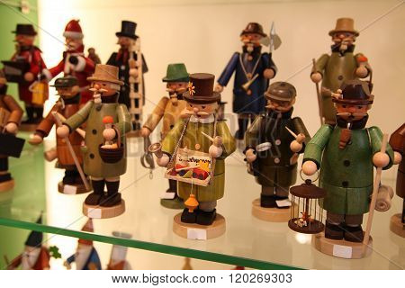 Frankfurt, Germany - April 18, 2013: German Wooden Toys: Figurines Depicting Profession