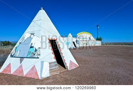 Meteor City, U.S.A. - May 24, 2011: Arizona, huts in a roadside attrction on the Route 66.