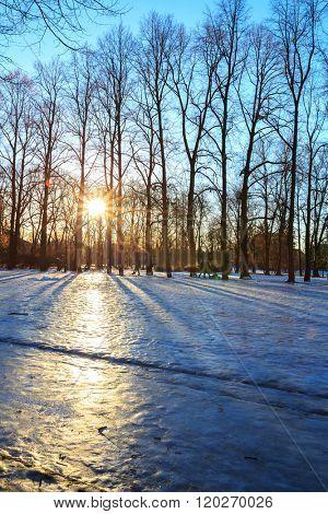 Sunrise at Vigeland park winter Oslo Norway