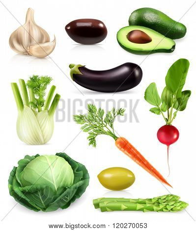 Vegetables, set of vector icons