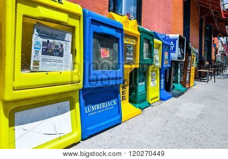 Flagstaff, U.S.A. - May 24, 2011: Arizona, colored vending machines for newspapers on the Route 66.