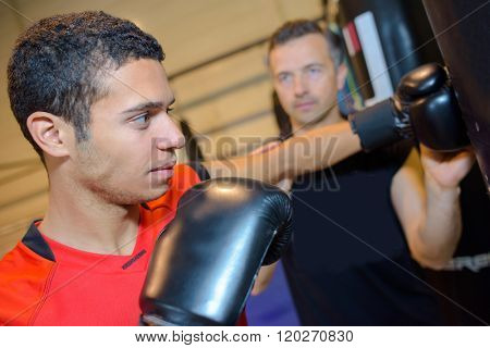 Young man training to box