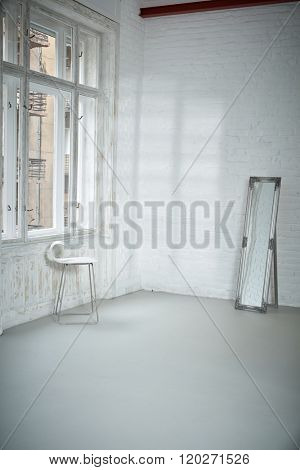 Interior of empty studio, ballet studio.