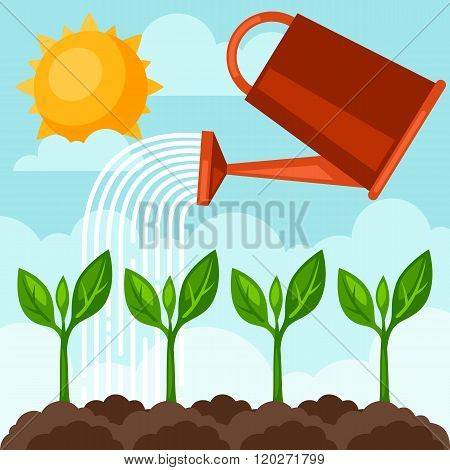 Illustration of watering plants from can. Image for advertising booklets, banners, flayers and artic