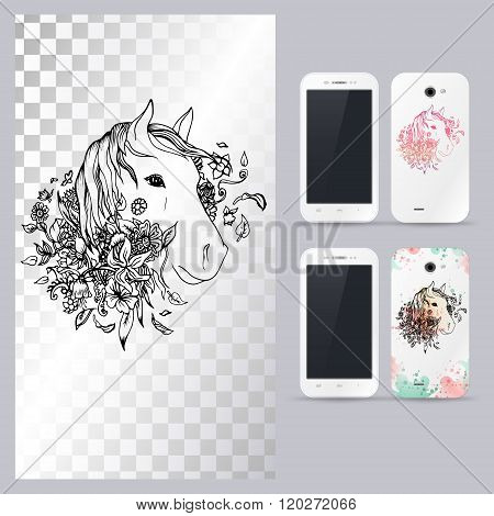 Black and white animal horse head. Vector illustration for phone case.