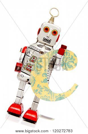 retro robot with the letter  c