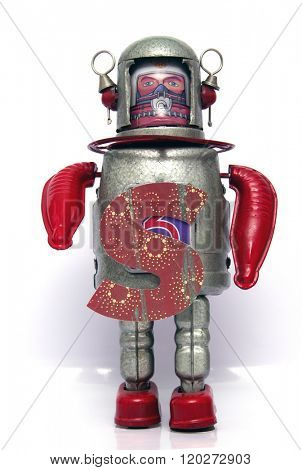 retro robot with the letter  s