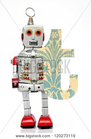 retro robot with the letter  t