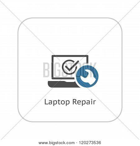 Laptop Repair Icon. Flat Design.