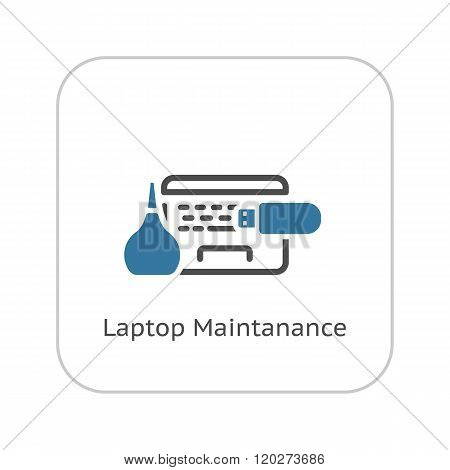 Laptop Maintanance Icon. Flat Design.