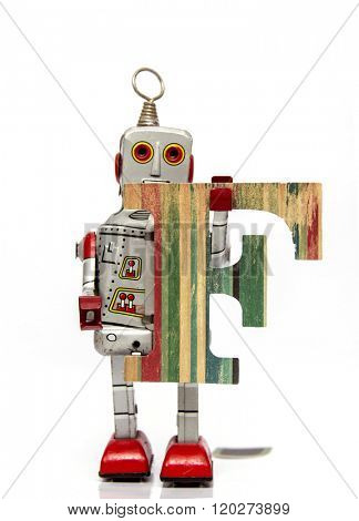retro robot with the letter  F