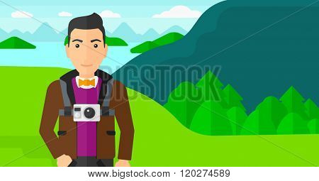 Man with camera on chest.