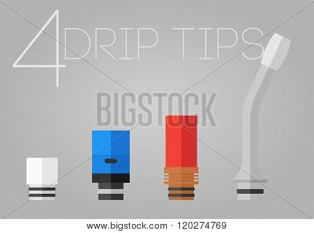 4 Colored Drip Tips Set