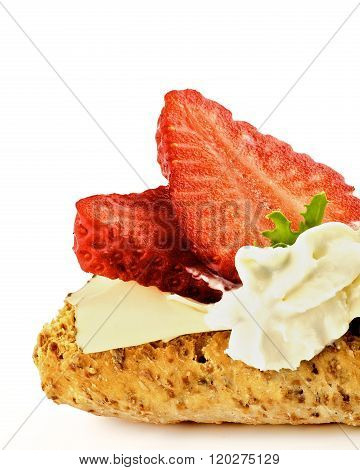 Cottage Cheese And Strawberry Sandwich