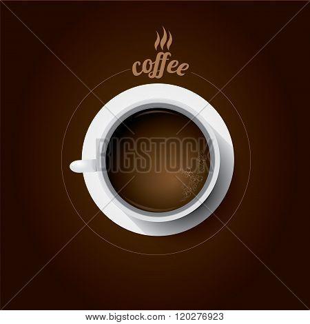 white cup of coffee. flat lay coffee mug
