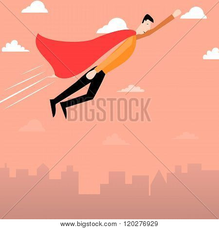 Cartoon man with red cape flying