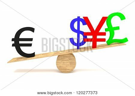 Strong Euro: currencies on a wooden seesaw