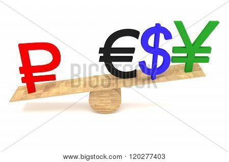 Strong Ruble: currencies on a wooden seesaw