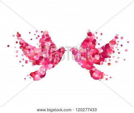 Wedding Symbol - Couple Dove Of Pink Rose Petals. Love