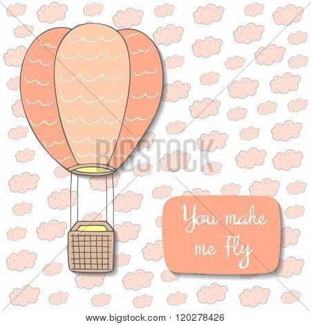 Cute hand drawn doodle postcard with air balloon