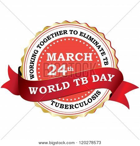World Tuberculosis day red ribbon label