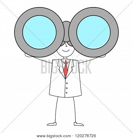 Cartoon man in suit with binoculars