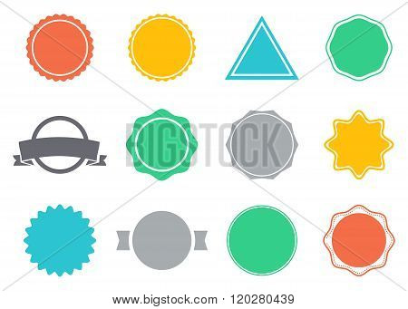 Set of blank retro vintage badges and labels.
