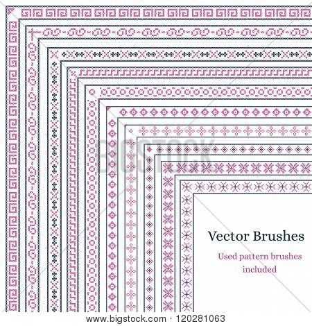 Brush with external and internal corners. Patterns embroidered cross on the canvas. Cross-stitch. Used brushes are included. Vector illustration.
